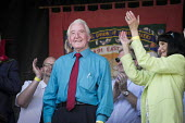 Dennis Skinner MP Labour Party speaking, 2018 Durham Miners Gala - Mark Pinder - 2010s,2018,applauding,applause,County Durham,DMA,Durham Miners Gala,Durham Miners' Gala,Labour Party,member,member members,members,MINER,Miners,MINER'S,MP,MPs,NUM,Party,politician,politicians,SPEAKER,