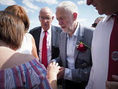 Jeremy Corbyn and Alan Cummings DMA talking to supporters, Durham Miners Gala, 2018 - Mark Pinder - 14-07-2018