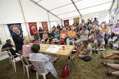 TUC 150 meeting, Maxine Peake with Prof Mary Davis, Lord John Monks and Paul Nowak at Tolpuddle Martyrs' Festival, Dorset 2018 - Jess Hurd - 21-07-2018