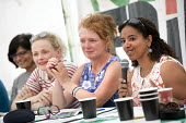 Women and Politics chaired by Joanne Kaye, Wanda Wyporska, Maxine Peake, Clare Moody MEP, Doina Cornell and Thangam Debonnaire MP. Tolpuddle Martyrs' Festival, Dorset 2018 - Jess Hurd - 21-07-2018