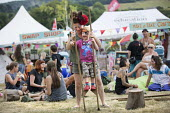 Kids Area, walking with stilts, Tolpuddle Martyrs' Festival, Dorset 2018. - Jess Hurd - 21-07-2018