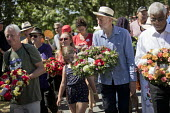 Jeremy Corbyn wreath laying at Tolpuddle Martyrs' Festival, Dorset 2018. - Jess Hurd - 2010s,2018,COMMEMORATE,COMMEMORATING,commemoration,COMMEMORATIONS,commemorative,Dorset,Festival,festivals,floral tribute,floral tributes,flower,flowering,flowers,Jeremy Corbyn,Labour Party,laying,male