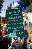 Women's sufferage banners at Tolpuddle Martyrs' Festival, Dorset 2018, Votes for Women, universal suffrage - Jess Hurd - 22-07-2018