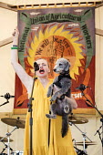 Maxine Peake speaking and dog Castro, Tolpuddle Martyrs' Festival, Dorset 2018 - Jess Hurd - 22-07-2018