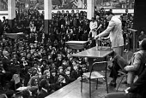 Muhammad Ali 1974 speaking pupils at Tulse Hill School, Brixton, London - Peter Arkell - 02-12-1974