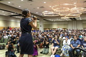 Detroit, Michigan, USA Alexandria Ocasio-Cortez DSA speaking to a meeting, Wayne State University, urging the election of Abdul El-Sayed as governor of Michigan. If elected, El-Sayed would be the firs... - Jim West - 28-07-2018