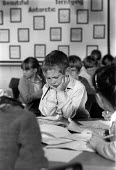 Pupil frowning as he struggles to understand, Hawthorns Primary School, Wokingham 1989 - John Harris - 09-11-1989
