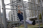 Steel Warriors a free community outdoor calisthenics gym made from knives confiscated by Police, Langdon Park, Tower Hamlets, East London. Providing young people with a free space to talk about knife... - Jess Hurd - 24-08-2018