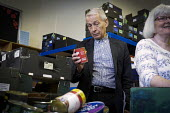 Frank Field MP visiting New Hope Food Bank, Rekendyke, South Tyneside 2014 as a member of the All Party Parliamentary Inquiry into Hunger and Food Poverty - Mark Pinder - 2010s,2014,Bank,BANKS,excluded,exclusion,Food,food aid distribution,food bank,food banks,foodbank,foodbanks,FOODS,HARDSHIP,impoverished,impoverishment,INEQUALITY,Labour Party,male,man,Marginalised,men