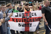 EDL national protest Worcester, against a potential mosque. Justice for Kevin Crehan flag. Bacon mosque attacker Kevin Crehan died in Bristol Prison after drug overdose - Jess Hurd - 01-09-2018