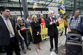 John McDonnell MP, Rebecca Long-Bailey and Richard Burgon join PCS activists supporting UVW cleaners in a pay dispute BEIS headquarters, Westminster, London - Jess Hurd - 05-09-2018