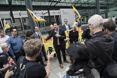Richard Burgon speaking, PCS activists supporting UVW cleaners in a pay dispute BEIS headquarters, Westminster, London - Jess Hurd - 05-09-2018