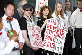 Newly formed London Renters Union ironic protest at the Resident Future Renting Landlords Association conference with violins and a spoof cheque. The conference discussed what they describe as the inc... - Jess Hurd - 13-09-2018
