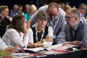 NEU delegation in discussion, TUC conference 2018 Manchester - John Harris - 11-09-2018