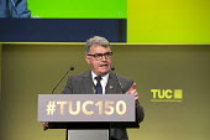 Mick Cash RMT speaking TUC conference 2018 Manchester - John Harris - 11-09-2018