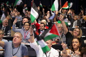 Support Palestine flags, TUC conference 2018 Manchester - John Harris - 2010s,2018,conference,conferences,CWU,delegate,delegates,delegation,democracy,flag,flags,Hands up,Manchester,palestine,people,trade union,trade unions,trades union,trades unions,TUC,TUC congress,Vote,