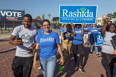 Detroit, Michigan USA Rashida Tlaib, Democratic candidate 13th District for Congress campaigning at Labor Day parade. If elected, she would be the first Muslim woman in Congress - Jim West - 2010s,2018,activist,activists,African American,African Americans,America,american,americans,Arab-American,BAME,BAMEs,black,BME,bmes,campaign,campaigning,CAMPAIGNS,candidate,CANDIDATES,Congress,DEMOCRA