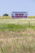 Colorado, USA, billboard on Interstate 76 praising President Donald Trump and the American flag - Jim West - 11-08-2018