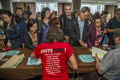 San Francisco, USA: hotel workers voting to strike, members of Unite Here strike against low pay and conditions - David Bacon - 2010s,2018,AFL CIO,AFL-CIO,against,ballot,BALLOTING,ballots,democracy,disputes,EARNINGS,FEMALE,Filipino,filipinos,hotel,HOTELS,Income,INCOMES,Industrial dispute,Low Pay,Low Income,low paid,Low Pay,mem