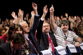 Len McClusky and UNITE delegation voting Labour Party Conference, Liverpool, 2018 - Jess Hurd - 2010s,2018,Andrew Murray,conference,conferences,delegate,delegates,delegation,democracy,Gen Sec,Hands up,Labour Party,Labour Party Conference,Len McCluskey,Len McClusky,Liverpool,member,member members