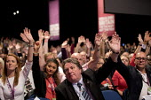 Tony Burke, Steve Turner, UNITE delegation voting Labour Party Conference, Liverpool, 2018 - Jess Hurd - 2010s,2018,conference,conferences,delegate,delegates,delegation,democracy,Hands up,Labour Party,Labour Party Conference,Liverpool,member,member members,members,Party,people,POL,political,POLITICIAN,PO
