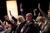 Mick Whelan ASLEF voting Labour Party Conference, Liverpool, 2018 - Jess Hurd - 2010s,2018,ASLEF,conference,conferences,delegate,delegates,delegation,democracy,Gen Sec,Hands up,Labour Party,Labour Party Conference,Liverpool,member,member members,members,Mick Whelan,Party,people,P