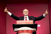 Jeremy Corbyn speaking Labour Party Conference, Liverpool, 2018 - Jess Hurd - 2010s,2018,Conference,conferences,Jeremy Corbyn,Labour Party Conference,Liverpool,MP,MPs,Party,POL,political,politician,politicians,Politics,SPEAKER,SPEAKERS,speaking,speech,thumb up,thumbs up