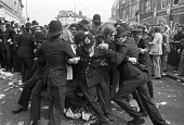 Battle of Lewisham. Police try to keep the streets clear for the National Front march through Lewisham. - NLA - 13-08-1977