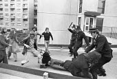 Battle of Lewisham 1977. Police arresting protestors and trying to clear the streets for a National Front march, South London - NLA - 13-08-1977