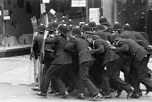 Battle of Lewisham 1977. Police use riot shields for the first time trying to clear the streets for a National Front march, South London - NLA - 13-01-1977