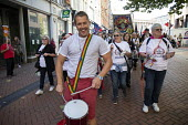 Adam Joyce FBU leading drummers. Protest against Austerity cuts ahead of the Conservative Party Conference, Birmingham - John Harris - 29-09-2018