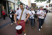 Adam Joyce FBU leading drummers. Protest against Austerity cuts ahead of the Conservative Party Conference, Birmingham - John Harris - People's Assembly Against Austerity,2010s,2018,activist,activists,against,anti,Austerity,Austerity Cuts,banner,banners,Birmingham,CAMPAIGNING,CAMPAIGNS,Conference,conferences,cuts,DEMONSTRATING,Demons
