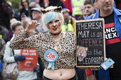 Pro EU protesters demonstrating, Conservative Party Conference, Birmingham, 2018 Theresa May is an offence to the leopards - Jess Hurd - 2010s,2018,activist,activists,Birmingham,Brexit,CAMPAIGNING,CAMPAIGNS,Conference,conferences,CONSERVATIVE,Conservative Party,Conservative Party Conference,conservatives,demonstrating,demonstration,EU,