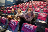 Delegate reading The Daily Telegraph with Boris Johnson front page, Making a Sucess of Brexit fringe meeting, Conservative Party Conference Birmingham 2018 - John Harris - 2010s,2018,Birmingham,Brexit,Conference,conferences,CONSERVATIVE,Conservative Party,Conservative Party Conference,conservatives,Delegate,DELEGATES,Making,meeting,MEETINGS,Party,POL,political,POLITICIA