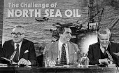 Jim Callaghan, Dennis Healy, Tony Benn, North Sea Oil press conference, London 1978 The Challenge of North Sea Oil - Peter Arkell - 1970s,1978,conference,conferences,Dennis Healey,Jim Callaghan,Labour Party,London,male,man,men,MP,MPs,nationalisation,nationalised,North Sea Oil,OCEAN,oil,Oil Industry,oilfield,people,person,persons,P