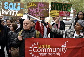 Supporters from Germany, McDonald's, UberEats and Wetherspoon workers strike over low pay. Rally Leicester Square, London - Stefano Cagnoni - 2010s,2018,�10,activist,activists,against,banner,banners,BFAWU,CAMPAIGN,campaigner,campaigners,CAMPAIGNING,CAMPAIGNS,catering,catering workers,conditions,contract,contracts,DEMONSTRATING,demonstrati