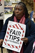 Fair Tips TGI Fridays, McDonald's, UberEats and Wetherspoon workers strike over low pay. Rally Leicester Square, London - Stefano Cagnoni - 04-10-2018