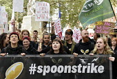 McDonald's, UberEats and Wetherspoon workers strike over low pay. Rally Leicester Square, London - Stefano Cagnoni - 2010s,2018,�10,activist,activists,against,banner,banners,BFAWU,CAMPAIGN,campaigner,campaigners,CAMPAIGNING,CAMPAIGNS,catering,catering workers,conditions,contract,contracts,DEMONSTRATING,demonstrati