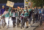 Take away food delivery workers strike for better pay, Bristol. The workers want a minimum of £5 per delivery, paid waiting times at restaurants of 17p per minute, a freeze on hiring new riders and g... - Paul Box - 2010s,2018,activist,activists,against,backpack,BAME,BAMEs,bicycle,bicycles,BICYCLING,Bicyclist,Bicyclists,BIKE,BIKES,Black,BME,bmes,CAMPAIGN,campaigner,campaigners,CAMPAIGNING,CAMPAIGNS,conditions,con
