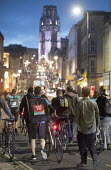 Take away food delivery workers strike for better pay, Bristol. The workers want a minimum of £5 per delivery, paid waiting times at restaurants of 17p per minute, a freeze on hiring new riders and g... - Paul Box - 04-10-2018