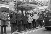 """Strike at the exclusive Cafe Royal, Piccadilly, London, 1977 by members of the GMWU, against a """"slave driving contract"""" and casualisation. - NLA - 1970s,1977,against,Cafe,Cafe Royal,cafes,casual labour,catering,DISPUTE,disputes,EARNINGS,GMWU,Hospitality,Income,Industrial dispute,London,Low Pay,Low Income,low paid,Low Pay,member,member members,me"""