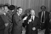 Len Murray proposing a toast to Boris Ponomarev (L) London 1976, Soviet politician and member of the secretariat of the Communist Part of the Soviet Union. Jack Jones (L), Reception at the TUC - NLA - 28-10-1976