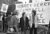 The ABC campaign and trial. Duncan Campbell, Crispin Aubrey and John Berry, 1977 facing deportation under the official Secrets Act, with supporters ~from their defence committee - NLA - 1970s,1977,ABC trial,activist,activists,against,CAMPAIGNING,CAMPAIGNS,Crispin Aubrey,defence,DEFENSE,DEMONSTRATING,Demonstration,deportations,Duncan Campbell,John Berry,Official Secrets Act,placard,pl
