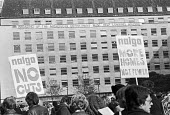 Opposing cuts at the GLC, members of NALGO and GLCSA protest at the cuts to Housing and Architects department London 1977 - NLA - 1970s,1977,activist,activists,against,architect cuts,CAMPAIGN,campaigner,campaigners,CAMPAIGNING,CAMPAIGNS,cuts,DEMONSTRATING,Demonstration,DEMONSTRATIONS,department,GLC,Greater London Council,Housing