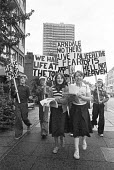 Children protest against living in high rise flats, Wandsworth, South London 1977 - NLA - 1970s,1977,activist,activists,against,Arndale complex,blocks,boy,boys,CAMPAIGNING,CAMPAIGNS,child,CHILDHOOD,children,DEMONSTRATING,Demonstration,fear,fearful,female,females,flats,girl,girls,High rise,