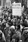 Students NUS Day of Action London 1978 against the planned introduction of quotas on overseas students, and aginst cuts and closures - NLA - 23-02-1978