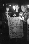 Vigil on 30th anniversary of NHS, asking whether it would be gone in 30 more years. - NLA - 04-07-1978