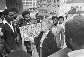 Overseas students, mainly from Zimbabwe, lobby Judith Hart, minister of Overseas Development, over the proposed cuts and restrictions to students from abroad - NLA - 1970s,1978,activist,activists,against,BAME,BAMEs,Black,BME,bmes,CAMPAIGNING,CAMPAIGNS,DEMONSTRATING,Demonstration,Development,diversity,ethnic,ethnicity,fee,fees,Foreign Student,Judith Hart,Labour Par