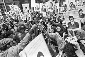 Joy at a protest in support of Ayattollah Khomeini and the Iranian revolution, London 1979 - NLA - 1970s,1979,activist,activists,against,Ayatollah Khomeini,BAME,BAMEs,Black,BME,bmes,CAMPAIGNING,CAMPAIGNS,DEMONSTRATING,Demonstration,diversity,ethnic,ethnicity,Iran,iranian,Iranian revolution,Iranians