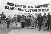 Protest in support of Ayattollah Khomeini and the Iranian revolution, London 1979 - NLA - 1970s,1979,activist,activists,against,Ayatollah Khomeini,BAME,BAMEs,banner,banners,Black,BME,bmes,CAMPAIGNING,CAMPAIGNS,DEMONSTRATING,Demonstration,diversity,ethnic,ethnicity,Iran,iranian,Iranian revo